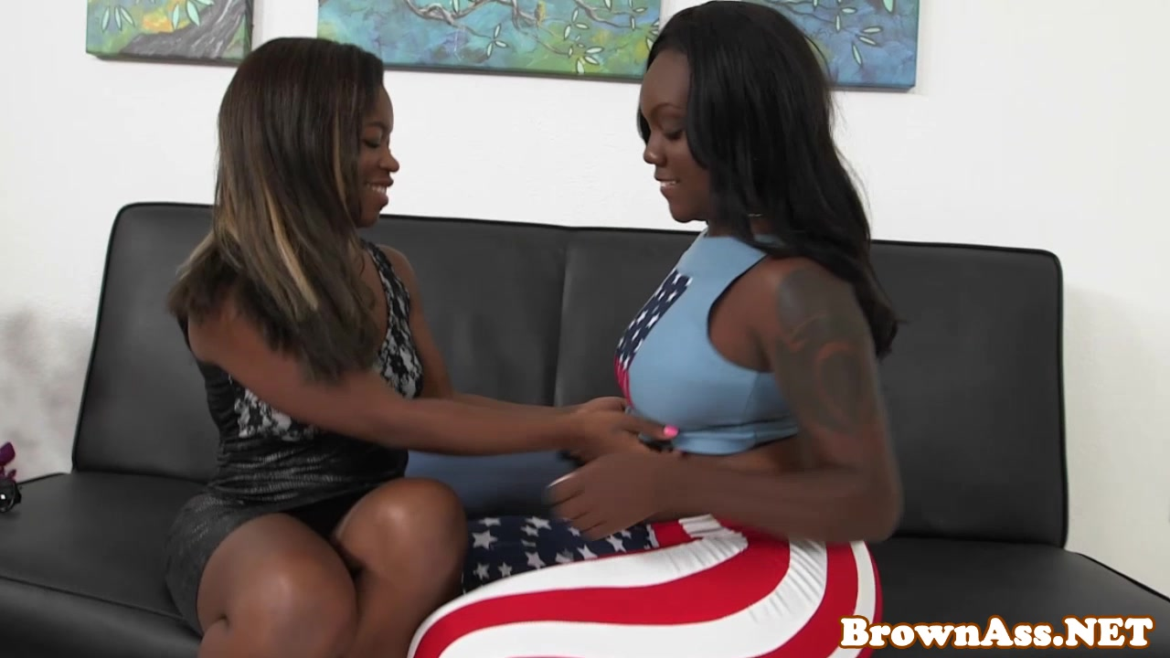 Salacious ebony chicks sharing a big white cock and a sticky cumshot  2289732